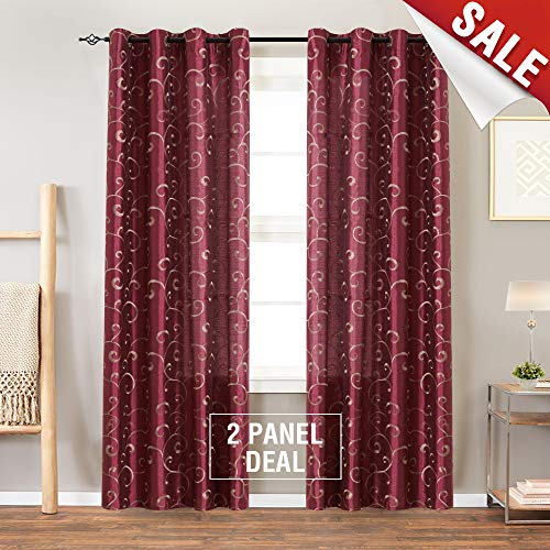Faux Silk Swirl Embroidered Grommet Top Curtains for Bedroom Embroidery Curtain for Living Room 84 inches Long, 2 Panels, Burgundy Red