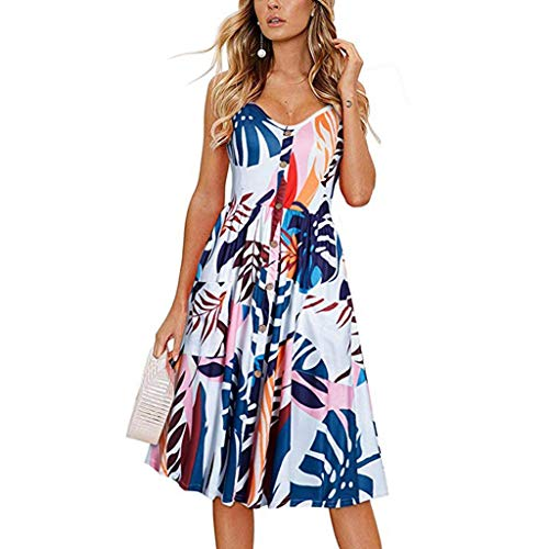 Ruhiku GW Women's Dresses Summer Casual Spaghetti Strap Button Down Swing Midi Dress with Pockets Beach Wear (Blue & Printing, XL)