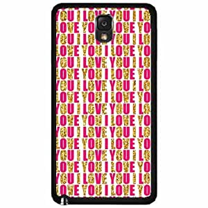 I Love You Sparkle Pattern Plastic Phone Case Back Cover Samsung Galaxy Note III 3 N9002
