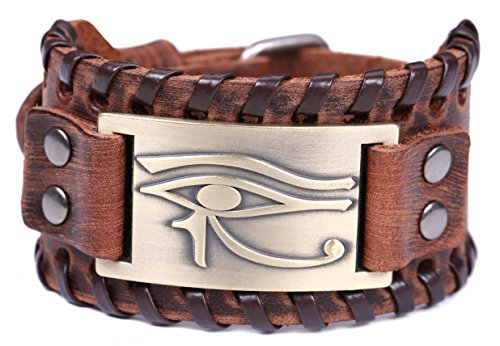 TEAMER Vintage Amulet Eye of Horus Leather Bracelet Cuff Bangle Egyptian Talisman Pagan Jewelry (Antique Bronze,Brown)
