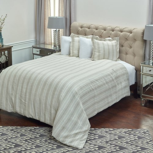 Rizzy Home Adeline Duvet Cover (Unfilled), Queen, Ivory/Taupe