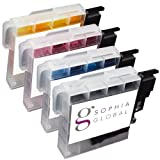 Sophia Global Compatible Ink Cartridge Replacement for Brother LC65 (1 Black, 1 Cyan, 1 Magenta, 1 Yellow)