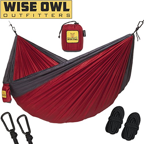 Wise Owl Outfitters Hammock for Camping Single & Double Hammocks Gear For The Outdoors Backpacking Survival or Travel – Portable Lightweight Parachute Nylon SO Red & Charcoal For Sale