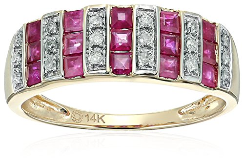 and Diamond Wedding Band(1/10 cttw, I-J Color, Clarity I2-I3), Size 7 (Ruby Diamond Wedding Band)