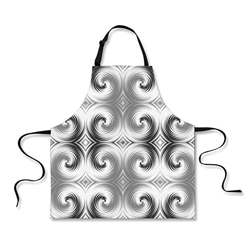 iPrint BBQ Apron,Spires Decor,Symmetric Spiral Forms with Hallucinating Distracting Geometric Effects Art,Grey White, Apron.29.5