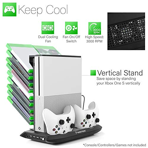- For Xbox One S Cooling Vertical All in One Stand, Insten Dual Controller Charging Station Dock and Game Holder with Console Cooler Fans and 4 Extra USB Ports compatible with Microsoft Xbox One S