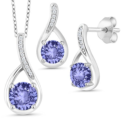 1.96 Ct Round Blue Tanzanite 925 Sterling Silver Pendant Earrings Set by Gem Stone King