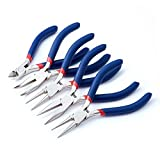 Beadthoven 5pcs Jewelry Plier Sets with Side Cutting Round Nose Pliers Bent Nose Pliers Long Chain Nose Pliers Ferronickel Carbon-Hardened Steel (At Least 3 Types In One Batch)