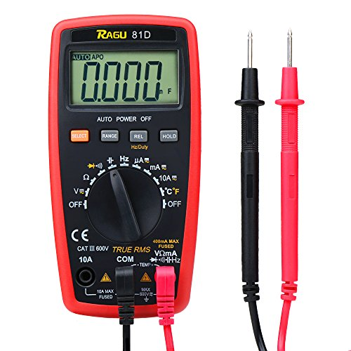 RAGU 81D Auto Ranging Digital Multimeter, AC/DC Voltage/Current Resistance Temperature Diode Continuity Measurement Tool, Electronic Test Meter/Measuring Instrument