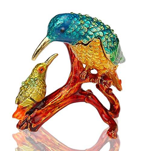 (Kingfishers Birds Trinket Box Metal Enameled Figurine Wedding Jewelry Ring Holder Organizer)