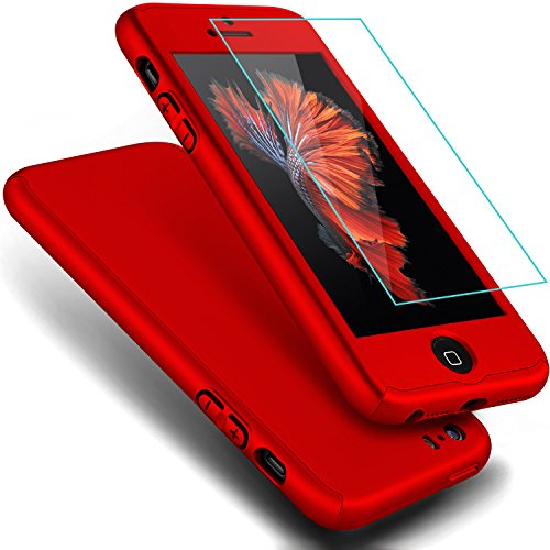 iPhone 5S Case,iPhone 5 Case, iPhone SE Case, Full Body Coverage Ultra-thin Hard Hybrid Plastic with [Slim Tempered Glass Screen Protector] Protective Case Cover & Skin for Apple iPhone 5S/5 (Red)