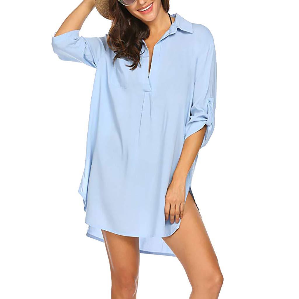 OverDose Boutique Blusenkleid T-Shirt Kleid Freizeitkleider für Damen, Sommerkleider Strandkleid Bikini Cover Up V-Ausschnitt Verstellbarer 3/4-Arm Einfarbig Longshirt Plus Size