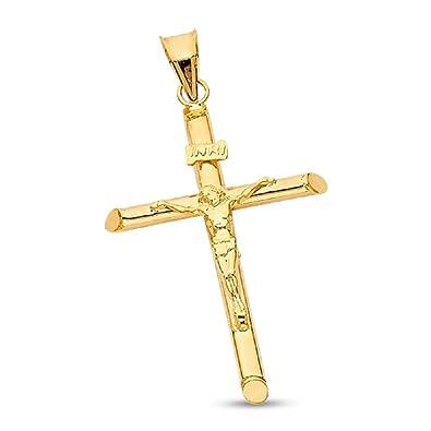 14k Yellow White Gold Jesus Christ Cross Charm Pendant Ceucifix Diamond Cut INRI