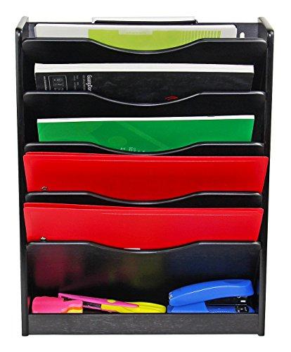 PAG Hanging File Organizer Wall Mount Mail Sorter Magazine Holder Literature Display Rack Wood Desk Organizer, 6 Tier, Black by PAG (Image #2)