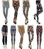 Wholesale Lots Leggings for Women - 9-Pack Aztec Tribal Print Leggings with Patterned Design