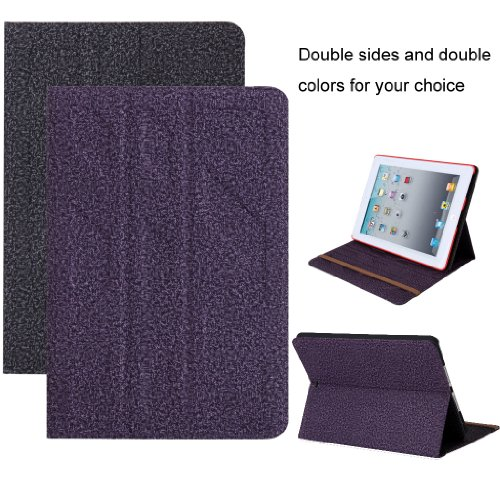Double Sides and Colors Gray+Purple Optional Soft Cloth Protective Folding Stand Case Cover with Stand and Magnet Function for iPad 2 3 4 ( Gray and Purple)