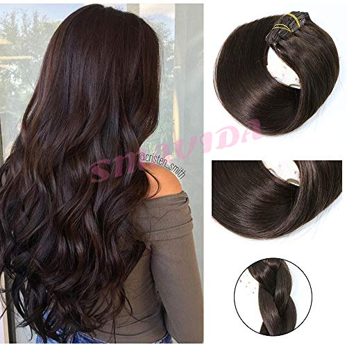 Clip in Hair Extensions Human Hair New Version Thickened Double Weft Brazilian Hair 120g 7pcs Per Set Remy Hair Silk Straight Soft Thick Dark Brown Full Head Clip In(22
