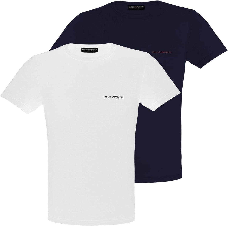 Emporio Armani 2-Pack Stretch Algodón Eagle Logo Hombres Camisetas, Negro/Blanco XX-Large: Amazon.es: Ropa y accesorios