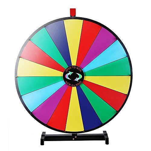 Crowd Drawing Large Carnival 30'' Tabletop Spinning Prize Wheel 18 Slots with Color Dry Erase