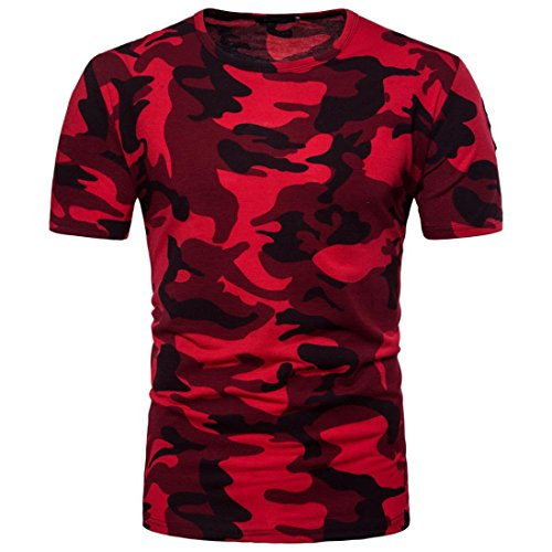 T-Shirt for Men, Forthery Mens Summer Camouflage Slim Fit Short Sleeve Henley Shirts (Red, US XL = Asia XXL) (Jacket Henleys)