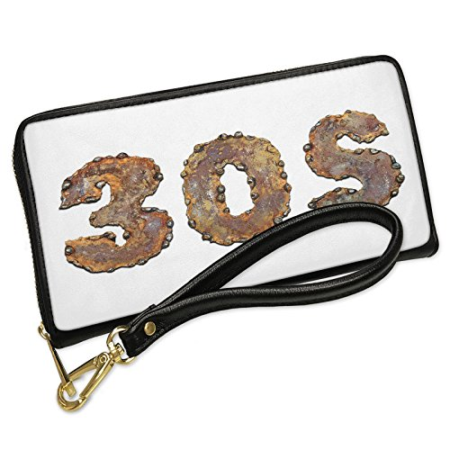 Wallet Clutch 30s Rusty Vintage Metal Welding with Removable Wristlet Strap Neonblond