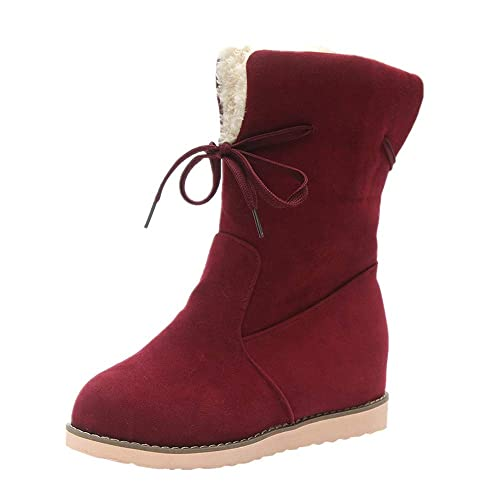 TOPUNDER Womens Low Wedge Biker Ankle Boots Trim Flat Ankle Warm Martin Shoes Red
