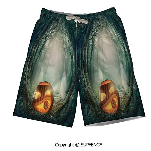 Mens Summer Swim Trunk Scary Halloween Pumpkin Mesh Lining Quick Dry]()