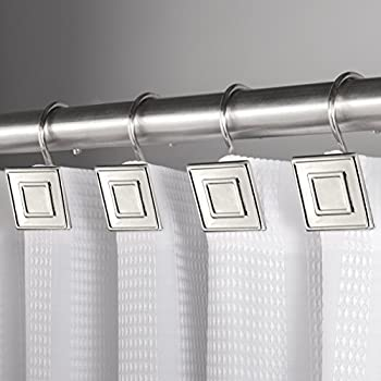 4fc422109f4 Hermosa Collection Luxury Hotel Shower Curtain Hooks Square Contemporary  Design Silver Chrome (12-pk.)