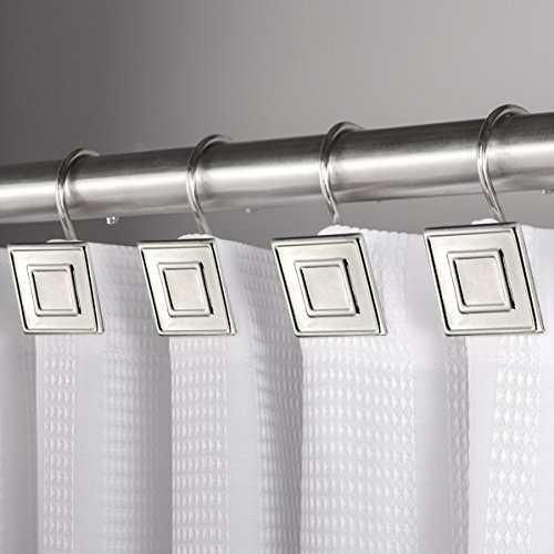 (Hermosa Collection Luxury Hotel Shower Curtain Hooks Square Contemporary Design Silver Chrome (12-pk.))