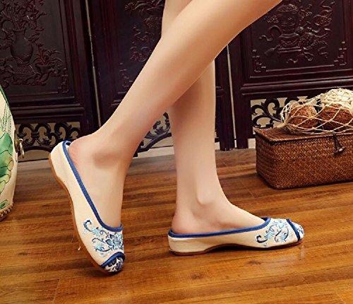 Lazutom - Zapatillas de estar por casa de Lona para mujer blanco