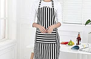 Cuisine + Style Canvas Retro Lovely Comfortable Classic Cute Flirty Fashion Women's Kitchen Apron Cooking Apron Baking Apron with Convenient Pockets for Ladies Girls Wife Daughter (Stripes)