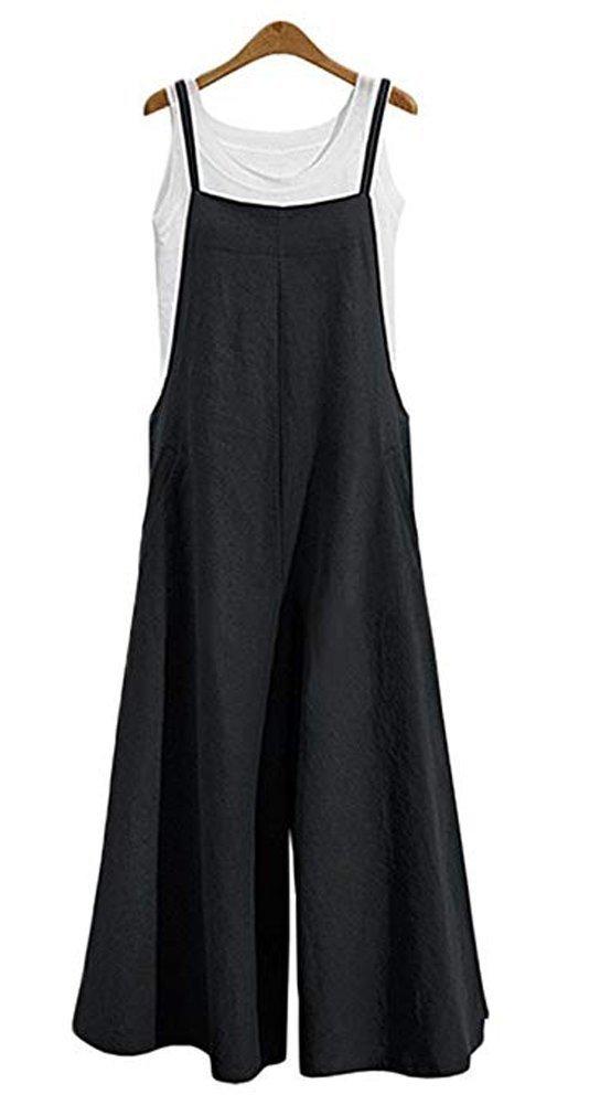 8d409e40187e NuoReel Womens Suspenders Overalls Plus Size Jumpsuits Loose Wide Leg  Romper Pants With Pockets(Black Large)