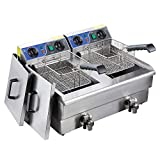 Koval Inc. Stainless Steel Commercial Electric Deep Fat Fryer with Drain and Basket (20L, Silver Double Tank)