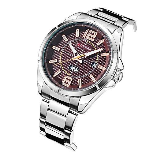 New Men Watch Quartz Water Resistant Sliver Steel Watchband Wristwatches Calendar 8271 by CURREN (Image #1)