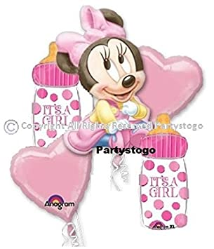 MINNIE MOUSE BABY SHOWER BALLOONS BOUQUET DECORATIONS SUPPLIES (2 BOUQUETS  INCLUDED)
