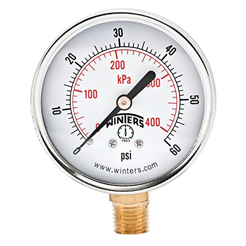 2.5 Inch Dial Gauge - Winters PEM Series Steel Dual Scale Economical All Purpose Pressure Gauge with Brass Internals, 0-60 psi/kpa, 2-1/2