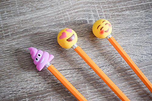 Pencil Top Erasers - Emoji Erasers for Kids - Fun Pencil Top Eraser - Everything Emoji Cute Pencil Eraser Tops (Set 4 (18 pack)) by I EM JI (Image #8)