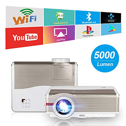 EUG HD Wireless Smart LCD Projector with WiFi Bluetooth 5000 Lumens 1280x800 Native Home Theater Android Projectors HDMI USB Aux Audio VGA, Outdoor Entertainment Game Consoles APPs Movies