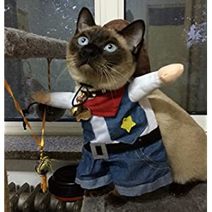 Pet Cat Costume Suit Cowboy Outfit Clothes for Halloween Christmas Party Special Event Dressing Up Suitable for Large Cats and Small Dogs XL Size