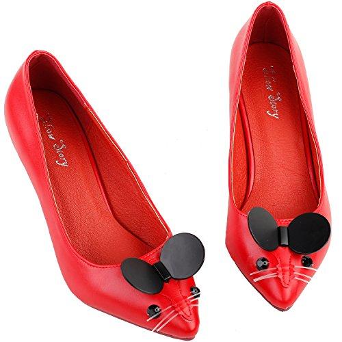 Show Story Frauen süße Maus wies Toe Exquisite Perle Ferse Kleid Pumpe, LF60408 Rot