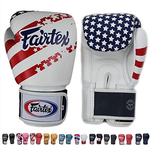 (Fairtex Muay Thai - Boxing Gloves. BGV1 - Color: Classic Brown, Emerald, Black, White, Blue, Red. Size: 10 12 14 16 oz. Training, Sparring Gloves for Boxing, Kick Boxing, MMA (USA Flag, 10 oz))