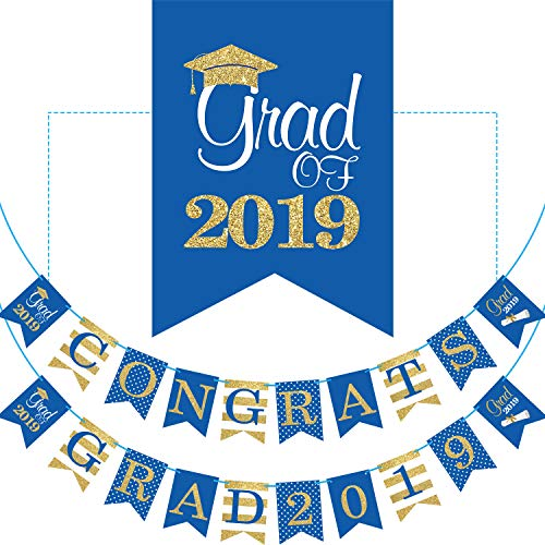 2019 Blue Graduation Banner - No DIY Required Graduation Party Supplies Decorations, Blue Grad Banner for College, High School Party (Congrats Grad -