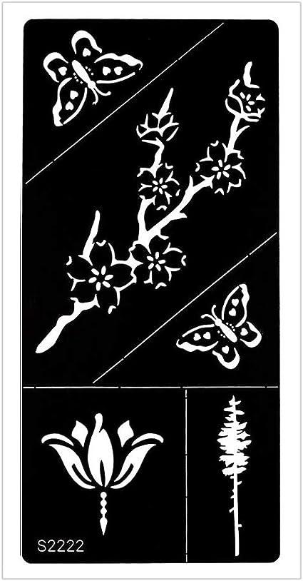 Just Fox – Plantilla de tatuaje de henna, aerógrafo, flores ...