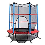 55'' Round Kids Mini Trampoline w/ Enclosure Net Pad Rebounder Outdoor Exercise
