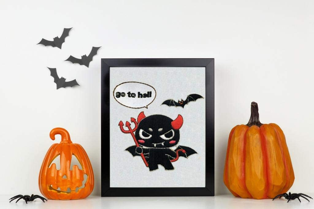 Louise Maelys Halloween Embroidery Kit for Beginner Little Devil Bat Cross Stitch DIY Adult Crafts Kits