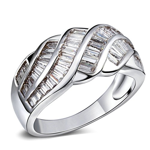 (Bishilin Baguette Cut Cubic Zirconia Channel Set Engagement Ring Unique For Women Size 8)