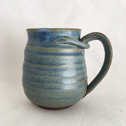 Large Rustin Blue Mug, Pottery Cup, Handmade Coffee Mug, 17 oz RBJUN17M1