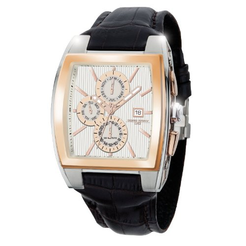 Jorg Gray JG6300-38 Rectangular Watch with Brown Italian Crocodile Leather Pattern with Deployment Butterfly Buckle (Jorg Gray Watch)