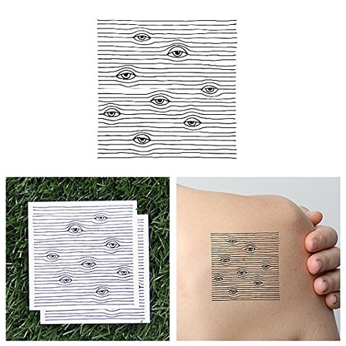 Tattify Lines And Eyes Temporary Tattoo - Peeping Tom (Set of 2) - Other Styles Available - Fashionable Temporary Tattoos - Long Lasting and Waterproof (Peeping Tom Sticker)