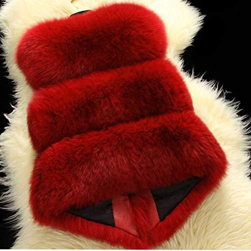 Casuales Piel Invierno Mangas Chaquetas Otoño Elegantes Outerwear Chaleco Colores Sólidos Mujer Sintético Espesor Mujeres De Rot Suave Cómodo Sin Termica Chalecos Moda Sq58pFS